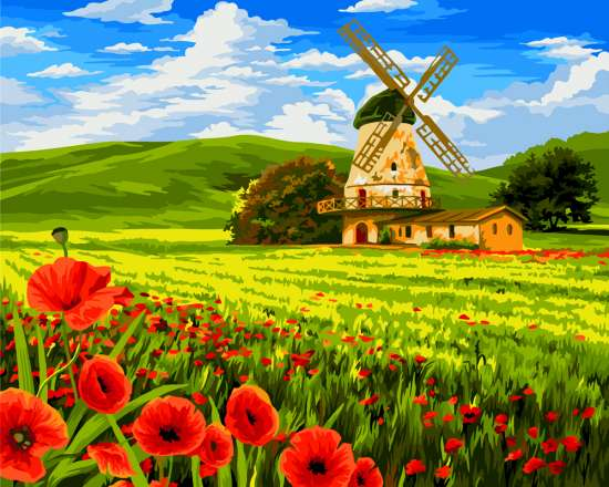 Картина по номерам 40x50 Ветряная мельница на маковом поле